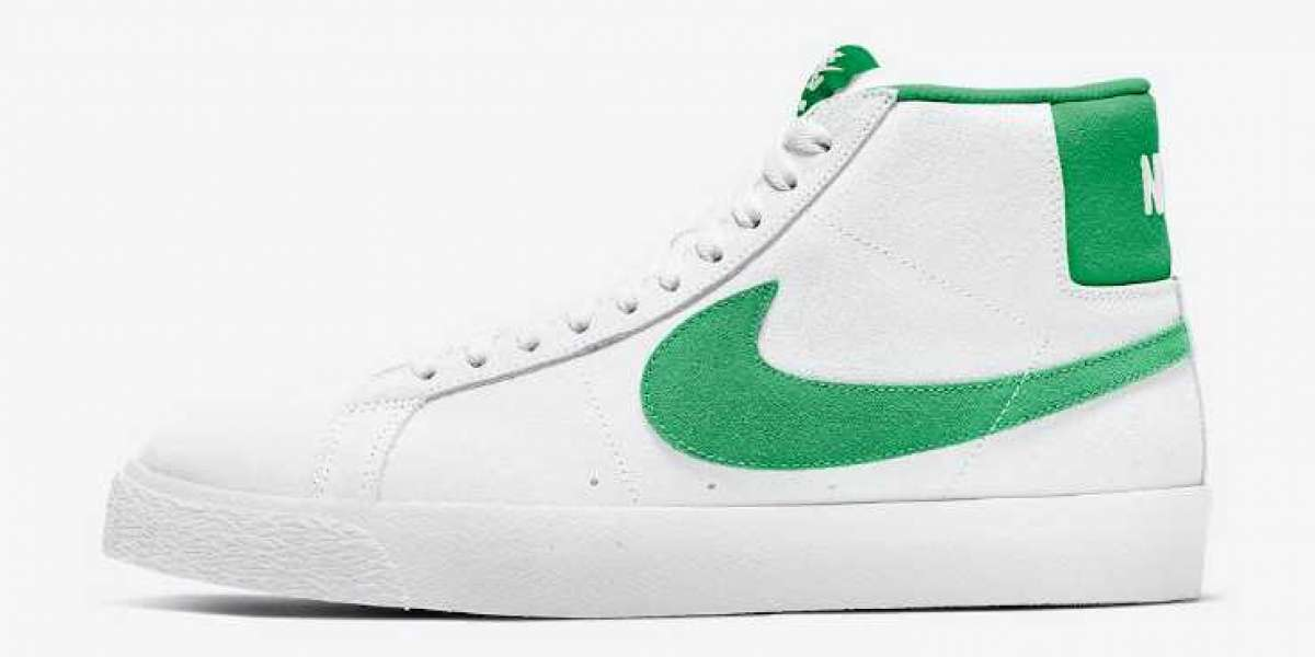 Hot Selling Nike SB Blazer Mid White Green Suede Swooshes